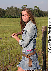 Country Girl by Fence 1