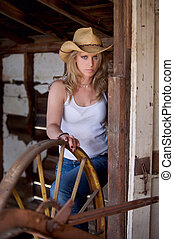Country girl outdoors