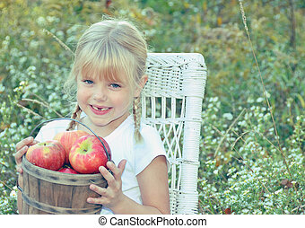country girl with apples