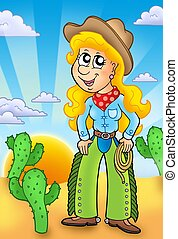 Country girl with sunset - color illustration.