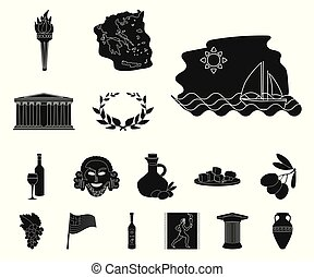 Country Greece black icons in set collection for design. Greece and landmark vector symbol stock web illustration.