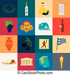 Country Greece cartoon icons in set collection for design. Greece and landmark vector symbol stock web illustration.