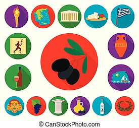 Country Greece flat icons in set collection for design. Greece and landmark vector symbol stock web illustration.