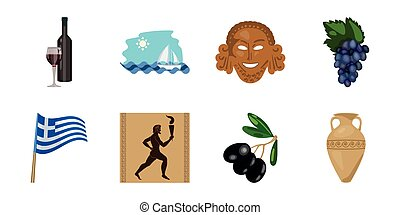 Country Greece icons in set collection for design. Greece and landmark vector symbol stock web illustration.