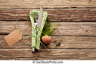Country happy easter Themed Place Setting with Blank Tag