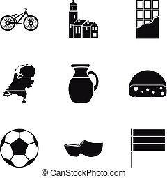 Country Holland icons set, simple style