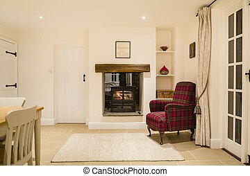 Country home interior with wood burner