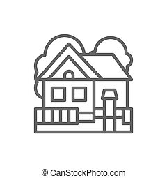 Country house, cottage landscape line icon.