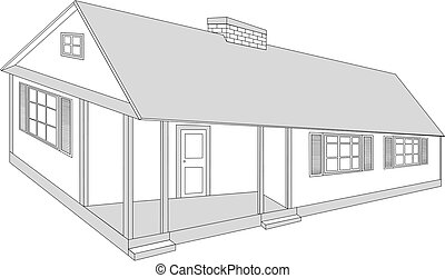 Country house - vector illustration.