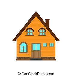 Country house design with a gable roof, flat image
