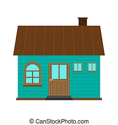 Country house design with a gable roof, flat style