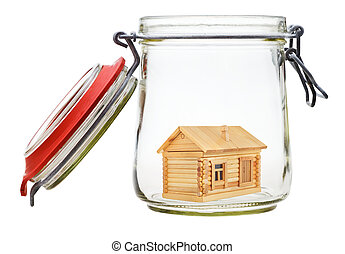 country house in glass jar