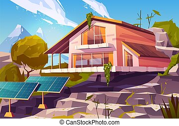 Country house in mountains cartoon vector