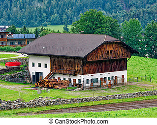 Country house in the forest. Farm in the countryside