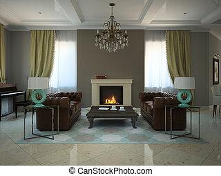 country-house, moderne, salle séjour