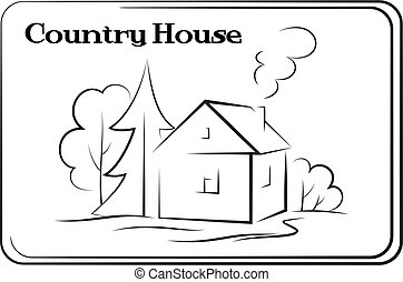 Country House, Pictogram - Landscape, Country House with...