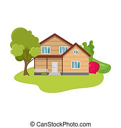 Hand drawn wooden country house surrounded by trees and local produce in summer over white background vector illustration. Countryside comfort living concept