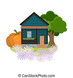 Hand drawn dark blue country house surrounded by trees, flowers and local produce in summer over white background vector illustration. Countryside comfort living concept