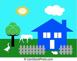 country house vector in the nature with farm animals