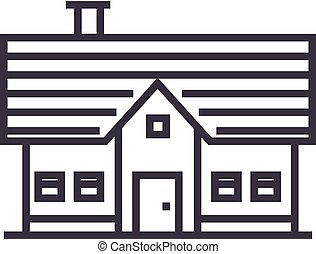 country house vector line icon, sign, illustration on background, editable strokes