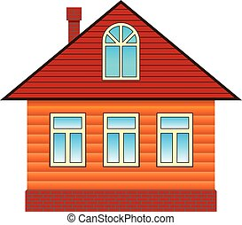 Country house with attic. Flat style vector illustration