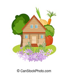 Hand drawn country house with flowers on yard surrounded by garden with trees and local produce in summer over white background vector illustration. Countryside comfort living concept