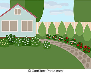 Country house with lawn and blooming flowers in the yard. No...