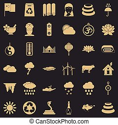 Country in asia icons set, simple style