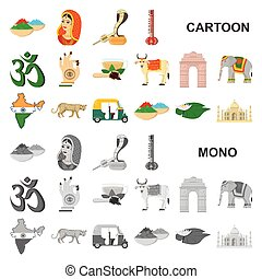 Country India cartoon icons in set collection for...