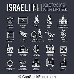 Country Israel travel vacation guide of goods, places and features. Set of architecture, fashion, people, items, nature background concept. Infographic template design on flat style