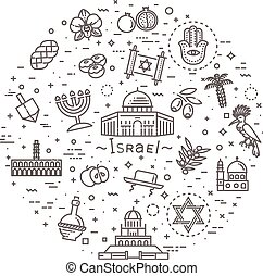 Israel icons set. Tourism and attractions, thin line design.