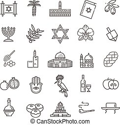 Country Israel travel vacation icons set - Set of...