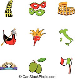 Country italy icons set, cartoon style