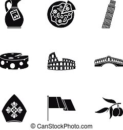 Country Italy icons set, simple style