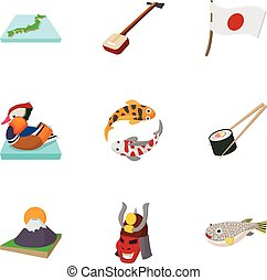 Country Japan icons set, cartoon style