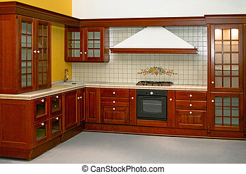 Country kitchen - Big and new traditional look wooden ...