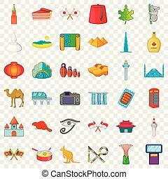 Country landmark icons set, cartoon style