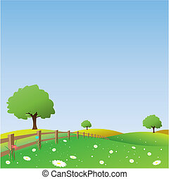 Country Landscape - A Vector Landscape with Fence