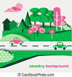 Country landscape background of green cardboard figures