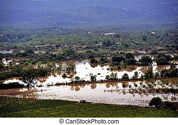 Country landscape flooded after heavy rains in Saint-...