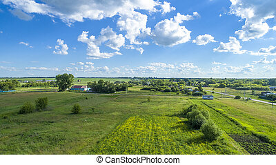 Country landscape on summer day in central part of Russia