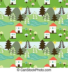 Country landscape seamless pattern