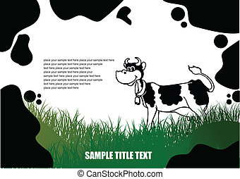 Country landscape with cow skin image. Vector illustration