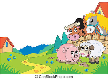 Country landscape with farm animals - vector illustration.