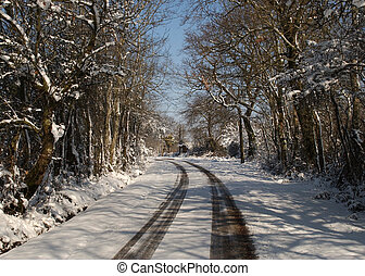 country lane in snow