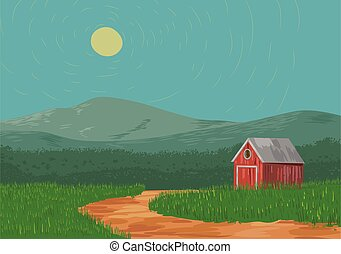 Country lanscape with barn vector