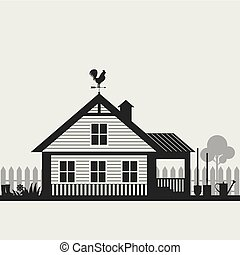 Country life. House with fence and Garden accessorie.