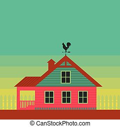 Country life. House with weather vane on the roof. Stylized...