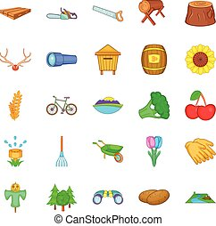 Country life icons set, cartoon style - Country life icons...