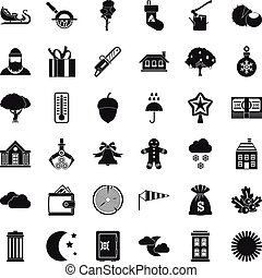 Country life icons set, simple style - Country life icons...